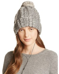 Rebecca Minkoff Cable Knit Tech Beanie With Fur Pom Pom