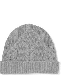 Frame Cable Knit Wool And Cashmere Blend Beanie Gray