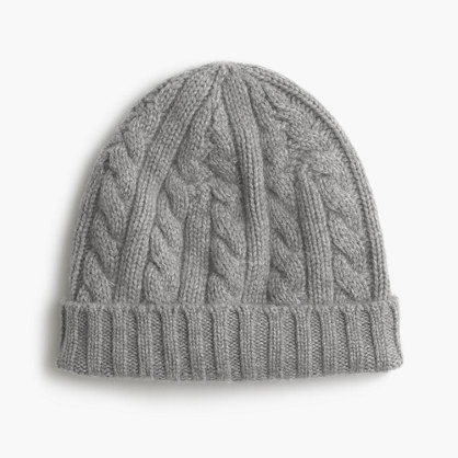 ... Grey Knit Beanies J.Crew Cashmere Cable Knit Beanie Hat ... 11d31a58486