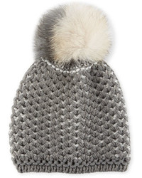Inverni English Rib Knit Beanie W Two Tone Fur Pompom