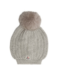 Moncler Fur Pompom Wool Beanie Hat