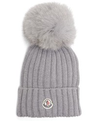 Moncler Genuine Fox Fur Pom Ribbed Wool Beanie Black