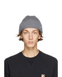 MAISON KITSUNÉ Grey Ribbed Fox Patch Beanie