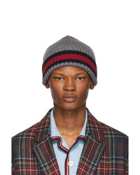 Gucci Grey Wool Web Beanie