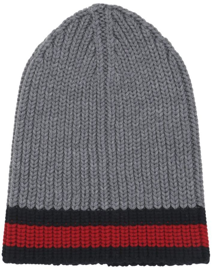 ... Gucci Web Wool Cable Knit Beanie Hat ... 6c725e500b8