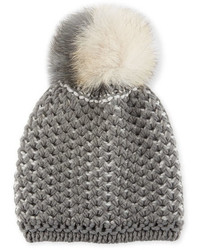 Inverni Fashion Accessories English Rib Knit Beanie W Two Tone Fur Pompom