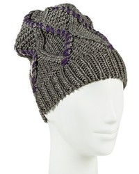 Knit Beanie Gray And Purple Mossimo Supply Cotm