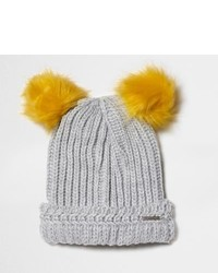 River Island Light Grey Knit Pom Pom Ear Beanie Hat
