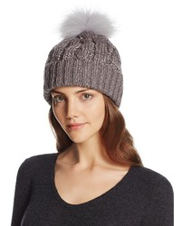 Aqua Metallic Cable Knit Beanie With Asiatic Raccoon Fur Pom Pom 100%