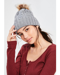 Missguided Grey Cable Knit Pom Pom Beanie