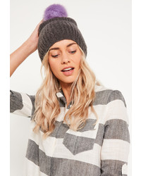 Missguided Soft Knit Beanie Grey