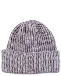 Portolano Cuffed Rib Knit Beanie Hat Gray