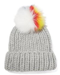 Eugenia Kim Rain Faux Fur Trimmed Cable Knit Wool Beanie Light Gray