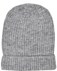 River Island Grey Ribbed Knitted Beanie Hat