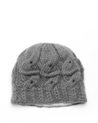 Sijjl Beaded Cable Knit Wool Beanie