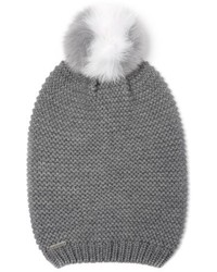 Soia & Kyo Slouchy Knit Beanie With Genuine Fox Fur Pompom Grey