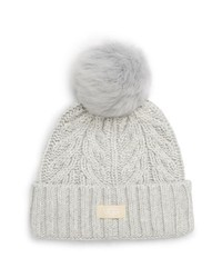 UGGR Collection Ugg Pompom Cable Genuine Shearling Beanie
