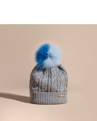 Burberry Wool Cashmere Cable Knit Beanie With Two Tone Fur Pom Pom