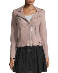 Han leather moto jacket pink medium 651458