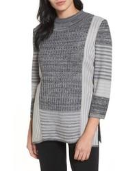 Ming Wang Mixed Knit Tunic Sweater