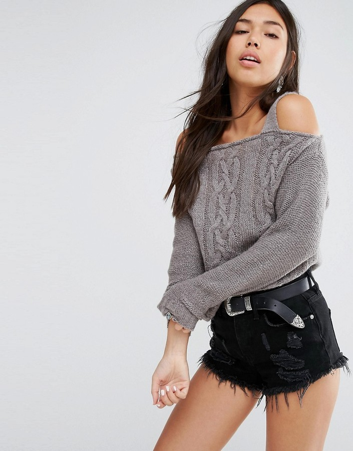 Boohoo Open Shoulder Cable Knit Sweater | Where to buy & how to wear