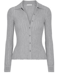 Campbell ribbed knit cardigan gray medium 4393586