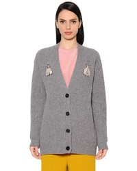 Embellished ribbed knit cardigan medium 4418348