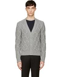 Moncler Gamme Bleu Grey Cable Knit Cardigan