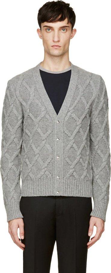 ... Moncler Gamme Bleu Grey Cable Knit Cardigan ...