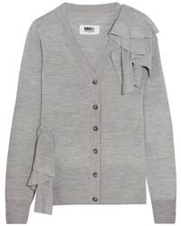 Ruffled knitted cardigan light gray medium 964560