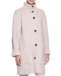 Giorgio Armani 34 Length Single Breasted Knit Coat Gray
