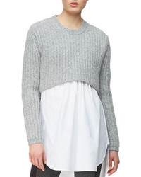Thakoon Addition Crop Pullover Heather Gray