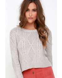 Obey Atherton Light Grey Cropped Cable Knit Sweater