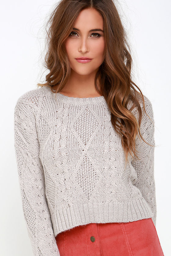 Obey Atherton Light Grey Cropped Cable Knit Sweater | Where to buy ...