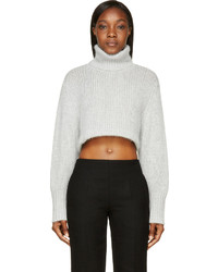 Dion Lee Chalk Grey Angora Cropped Turtleneck Sweater | Where to ...