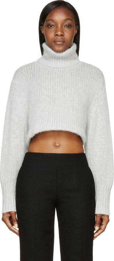 0d256204852 $800, Dion Lee Chalk Grey Angora Cropped Turtleneck Sweater