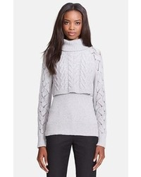 Elizabeth and James Crop Layered Turtleneck Sweater
