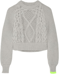 MM6 MAISON MARGIELA Cropped Chunky Knit Cotton Sweater