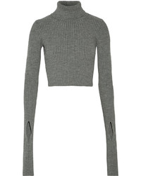Jacquemus Cropped Stretch Knit Turtleneck Sweater