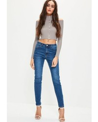 Missguided Grey Knit Cold Shoulder Ribbed Cropped Sweater