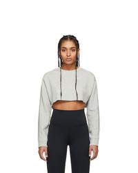 Nike Grey Ribbed Cropped Long Sleeve T Shirt