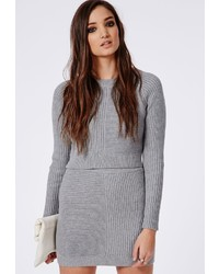 Missguided ribbed knitted cropped sweater grey medium 159769