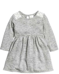 H&M Fine Knit Dress Gray Melange Kids