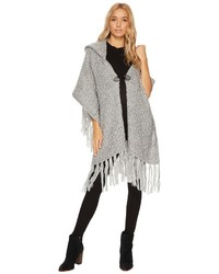 Fuzzy knit poncho style hooded ruana coat medium 5363096