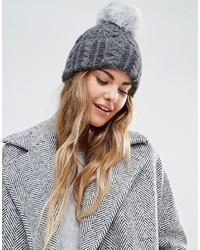 Helene Berman Cable Knit Beanie Hat With Faux Fur Pom Pom