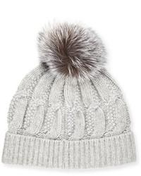 Sofia Cashmere Cable Knit Cashmere Fur Pom Beanie Hat Gray