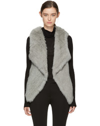 Grey knit fur lapel vest medium 5081784
