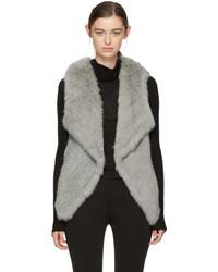Grey knit fur lapel vest medium 5081784