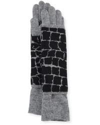 Portolano Croc Print Layered Knit Gloves