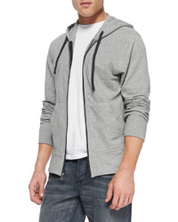 James Perse Cotton Knit Zip Hoodie Heather Gray